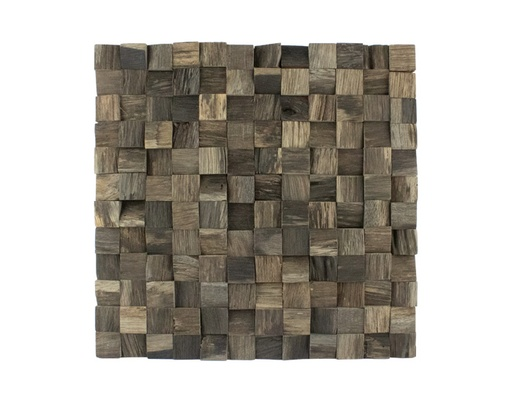 [MCH.PAN.0043] PANEL DECORATIVO MADERA DE PINO EN FORMA DE MOSAICO CON RELIEVE (30×30cm)