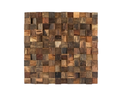 [MCH.PAN.0045] PANEL DECORATIVO MADERA DE PINO EN FORMA DE MOSAICO CON RELIEVE (30×30cm)